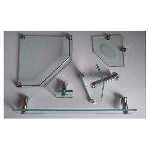 Kit Acess. em vidro p/banheiro 5 peças Incolor Vidrex