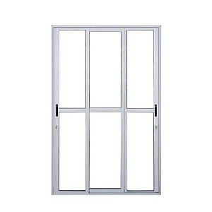 Porta de Alumínio Branco 3 folhas 200x210