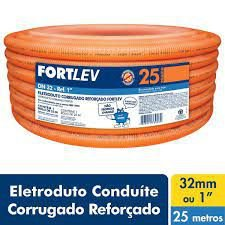ELETRODUTO CORRUGADO PVC 32mm LARANJA FORTLEV C/ 25MT COD IND14000320