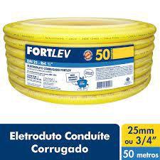 ELETRODUTO CORRUGADO PVC 25mm AMARELO FORTLEV COM 50MT