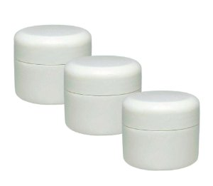 Pote para Creme Aromaterapia Capacidade 30g branco c/ batoque vedação (3 unidades)