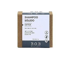 Shampoo Sólido Natural DETOX Todos os Tipos de Cabelo 80g   B.O.B