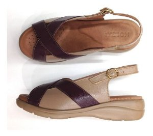 Sandálias Femininas Couro Conforto Ortopédico Sucesso 80010