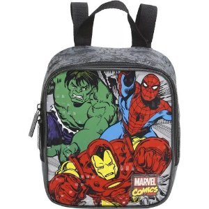 Lancheira Infantil Escolar Marvel Comics Xeryus Preta 7554