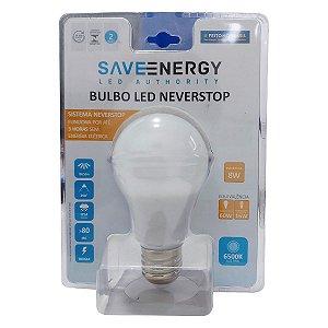 Lampada Led Bulbo 8w De Emergencia Neverstop Save Energy