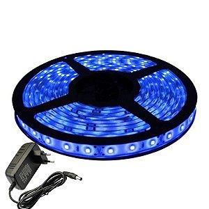 Fita Led Azul 5m Luz Led Original Com Fonte