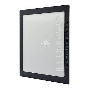 Luminária Painel Plafon Led 12w Branco Quente Quadrado Embutir Preto