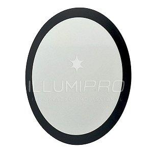 Luminária Painel Plafon Led 12w Branco Quente Redondo Embutir Preto
