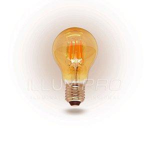Lâmpada Filamento Led Decorativa Retrô Vintage Âmbar A60 3,2w