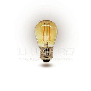 Lâmpada Filamento Led Decorativa Retrô Vintage Âmbar G45 1,8W