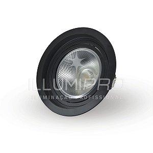 Spot Embutido Sem Lâmpada AR111 Quadrado Recuado Preto Save Energy