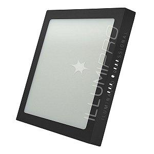 Luminária Plafon Led 6w Quadrado Sobrepor Quente Preto