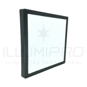 Luminária Plafon Led 18w Quadrado Sobrepor Quente Preto