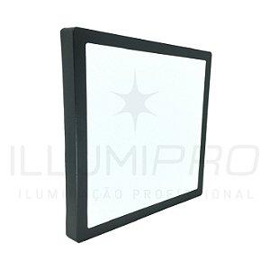Luminária Painel Led 12w Sobrepor Quadrado Frio Preto