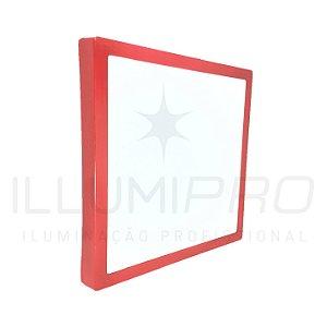 Luminária Painel Led 24w Sobrepor Quadrado Frio Vermelho