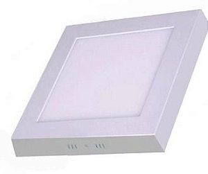 Luminaria Plafon Led 12w Quadrado Sobrepor Quente