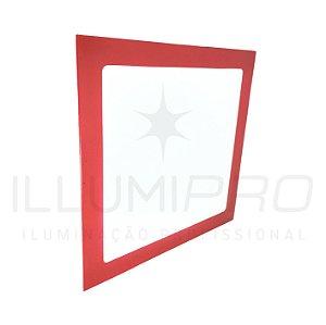 Luminária Plafon Led 24W Quadrado Embutir Frio Vermelho