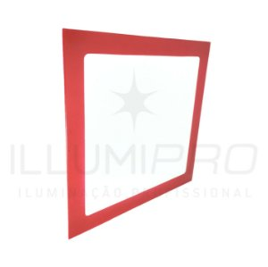 Luminária Painel Led 18w Embutir Quadrado Frio Vermelho