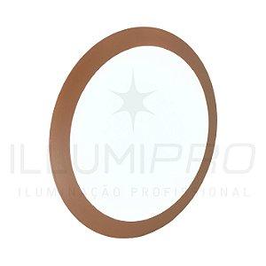 Luminária Plafon Led 24w Redondo Embutir Quente Marrom