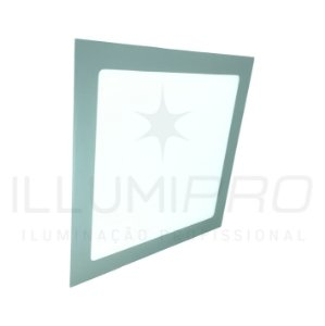 Luminária Plafon Led 24w Quadrado Embutir Frio Cinza