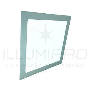 Luminária Painel Led 24w Quadrado Embutir Luz Quente Cinza