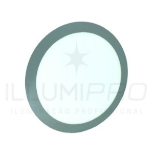 Luminária Painel Led 12w Redondo Embutir Branco Frio Cinza