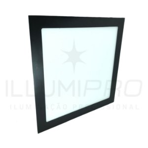Luminária Plafon Led 24w Quadrado Embutir Quente Preto