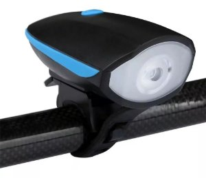 Farol Lanterna Bike Led Recarregável Usb com Buzina 140db Az
