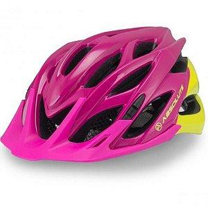 Capacete Ciclismo Mia Rosa Amarelo Led Sinalizador Tam 54-57cm