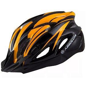 Capacete Absolute Nero Preto Laranja Ciclismo Led Sinalizador Tam 54-57cm