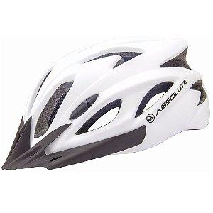 Capacete Absolute Nero Branco Fosco Ciclismo Led Sinalizador Tam 54-57cm