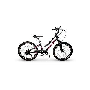 Bicicleta Infantil Nathor Aro 24 Bella Preta Rosa 6v Suspensão