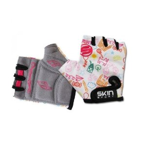 Luva De Ciclismo Infantil Aberta Skin Sport Kids Branca Rosa - Par