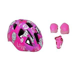 Capacete Kit Proteção Infantil Garra 7 Com Cotoveleira Joelheira Munhequeira T-M Rosa