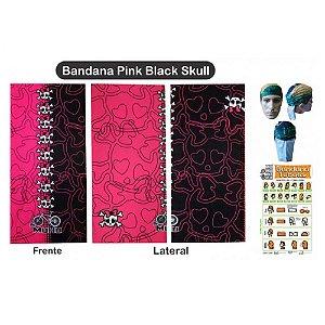 Bandana Tubular Muhu Pink Black Skull Ciclismo Bike Proteção
