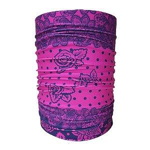 Bandana Tubular Muhu Rendas Pink Rosa Ciclismo Bike Proteção