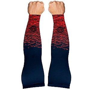 Manguito Muhu Solid Color Black Red Microfibra Proteção UV+ Ciclismo