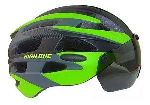 Capacete Ciclismo High One Óculos E Pisca Preto Verde