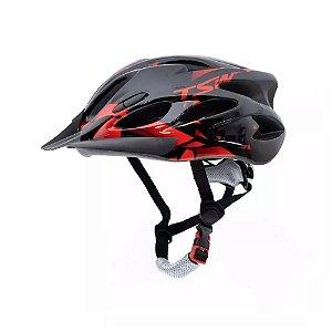 Capacete Tsw Raptor 2 Com LED Preto Vermelho Ciclismo Mtb Xc