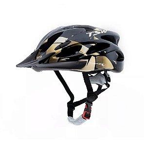 Capacete Tsw Raptor 2 Com LED Preto Dourado Ciclismo Mtb Xc