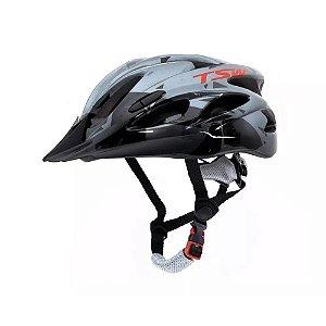 Capacete Tsw Raptor 2 Com LED Cinza Preto Vermelho Ciclismo Mtb Xc
