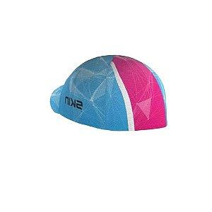 Boné De Ciclismo Skin Sport Azul Rosa Mtb Xc Speed
