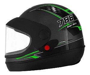 Capacete Pro Tork Super Sport Moto 788 Grafite Preto Verde