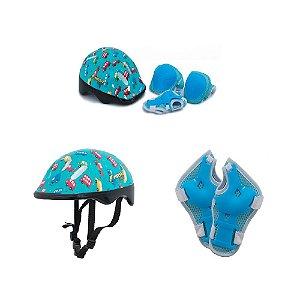 Kit Capacete e Proteção Infantil Little Child Bicicleta Verde