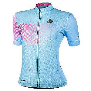 Camisa Mauro Ribeiro Feminina Link Azul E Rosa Ciclismo Bike