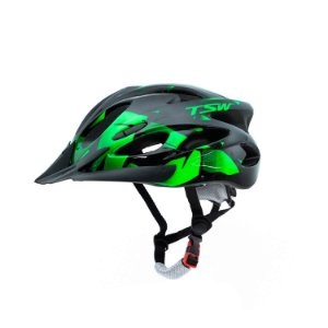 Capacete Tsw Raptor 2 Com LED Preto Verde Ciclismo Mtb Xc