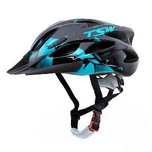 Capacete Tsw Raptor 2 Com Led Preto Azul Ciclismo Mtb Xc