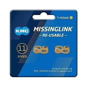 Power Link Kmc 11v Gold Dourado Emenda Rápida Corrente 2 Und