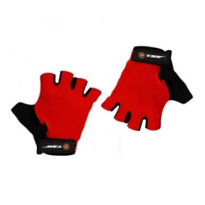 Luva Ciclismo Tsw Combat Meio Dedo Preto Vermelho - Par