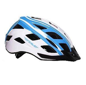 Capacete Ciclismo Brave S-282 Branco E Azul Bicicleta Bike Tam M